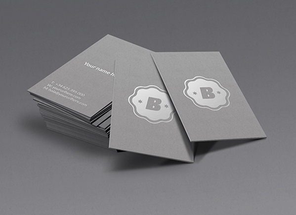 GraphicBurger Shop Silver Business Card Mockup