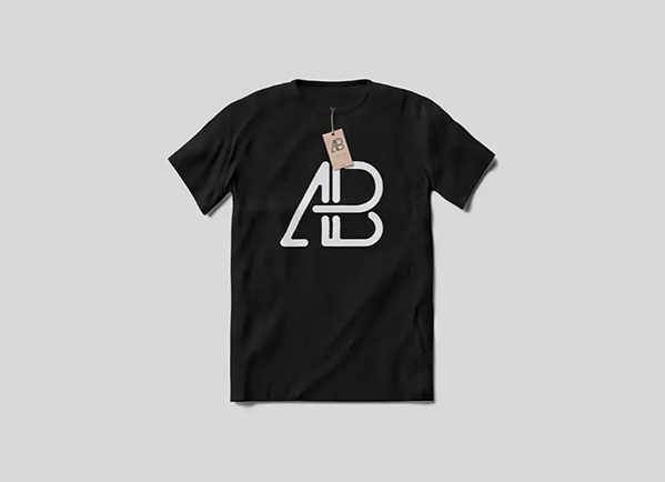 black t-shirt mockup with Anthony Boyd tag on it