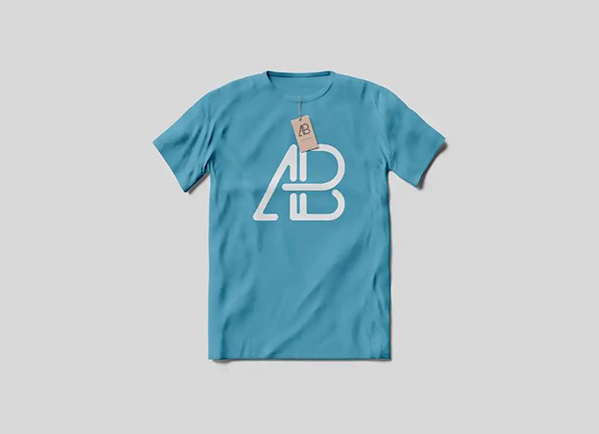 blue t-shirt mockup with Anthony Boyd tag on it