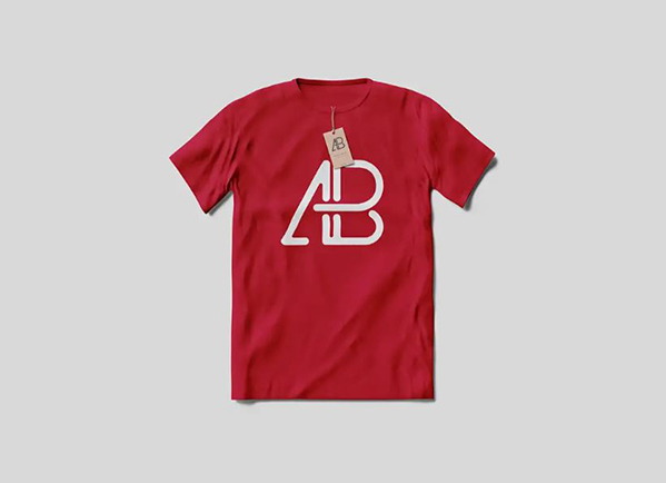 red t-shirt mockup with Anthony Boyd tag on it