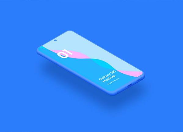 Free Samsung Galaxy Mockup on blue surface
