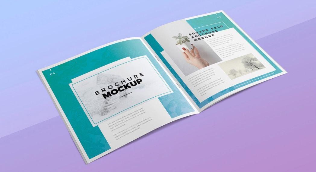 brochure mockup square fold