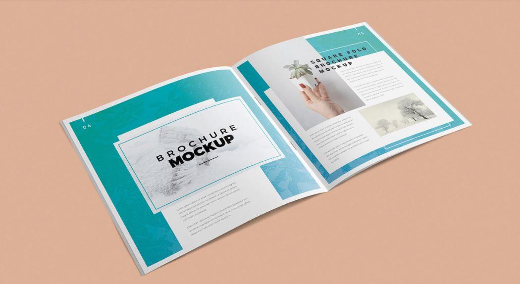 brochure mockup on peach background